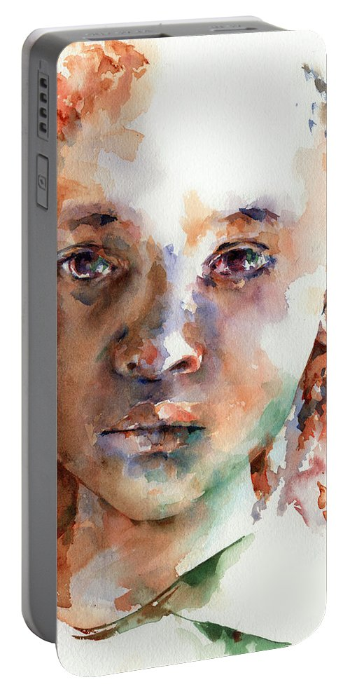 Girl Portable Battery Charger featuring the painting Wistful by Stephie Butler