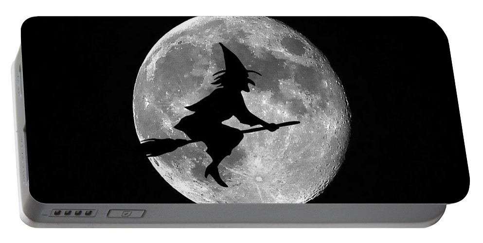 Moon Portable Battery Charger featuring the photograph Witchy Moon by Al Powell Photography USA
