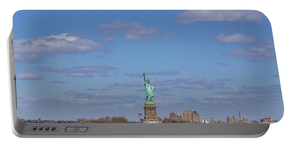 New York City Portable Battery Charger featuring the photograph With Liberty... by Angus Hooper Iii