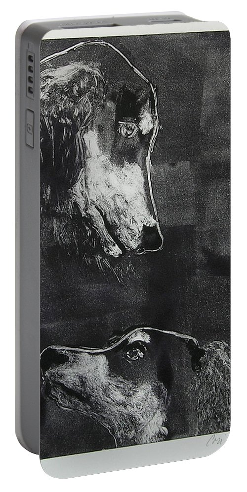 Saluki Portable Battery Charger featuring the mixed media With Love by Cori Solomon