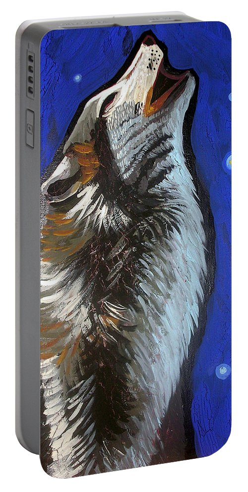 Wolf Portable Battery Charger featuring the painting Wolf Howl by Genevieve Esson