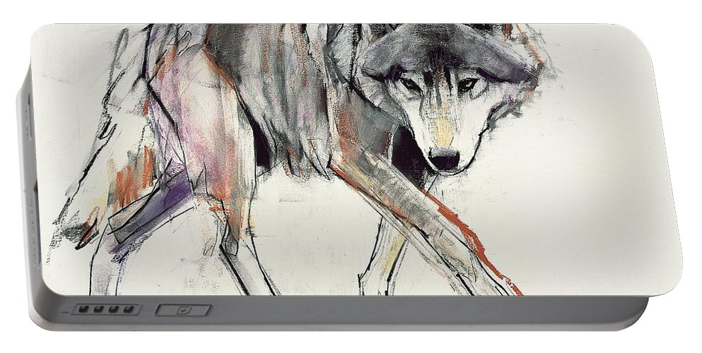 Wolf Portable Battery Charger featuring the painting Wolf by Mark Adlington