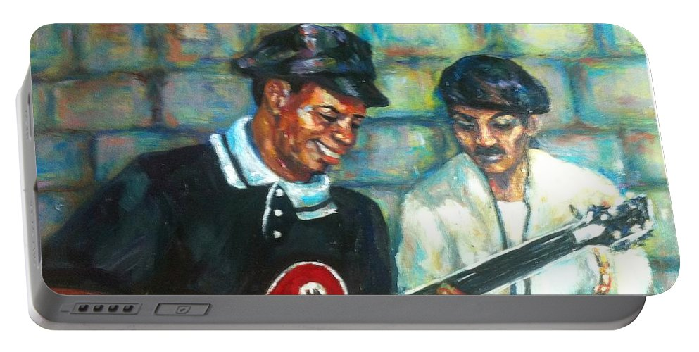 Guitar Portable Battery Charger featuring the painting Wolfman by Beverly Boulet