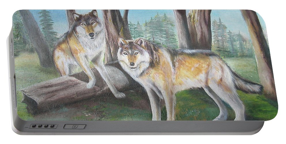 Gray Wolf Portable Battery Charger featuring the painting Wolves In The Forest by Thomas J Herring