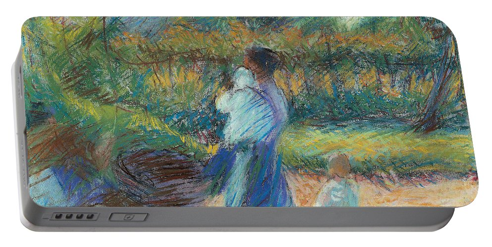 Boccioni Portable Battery Charger featuring the painting Woman In The Garden by Umberto Boccioni