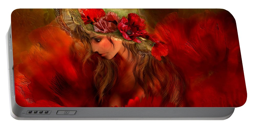 Carol Cavalaris Portable Battery Charger featuring the mixed media Woman In The Poppy Hat by Carol Cavalaris