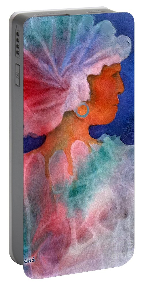 Woman Portable Battery Charger featuring the painting Woman In Turban by Teresa Ascone
