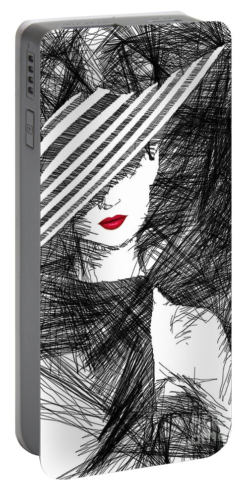 Woman Portable Battery Charger featuring the digital art Woman With A Hat by Rafael Salazar