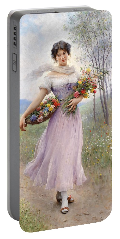 Flowers Portable Battery Charger featuring the painting Woman With Flowers by Mountain Dreams