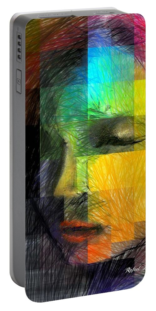 Art Portable Battery Charger featuring the digital art Woman With Red Hair by Rafael Salazar
