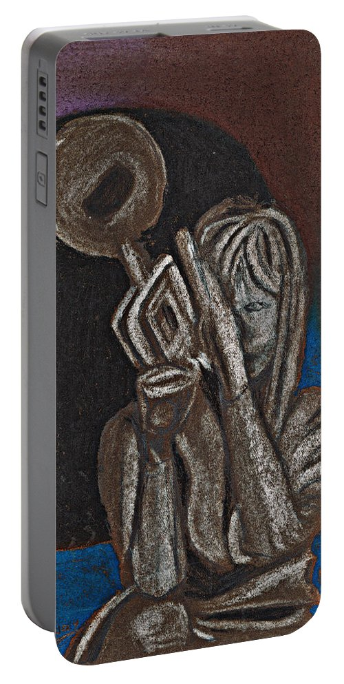 Trumpet Portable Battery Charger featuring the painting Woman With Trumpet by Tom Conway