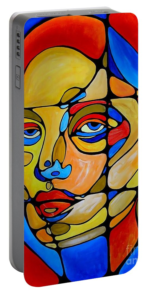 Painting Portable Battery Charger featuring the digital art Women 450-09-13 by Marek Lutek