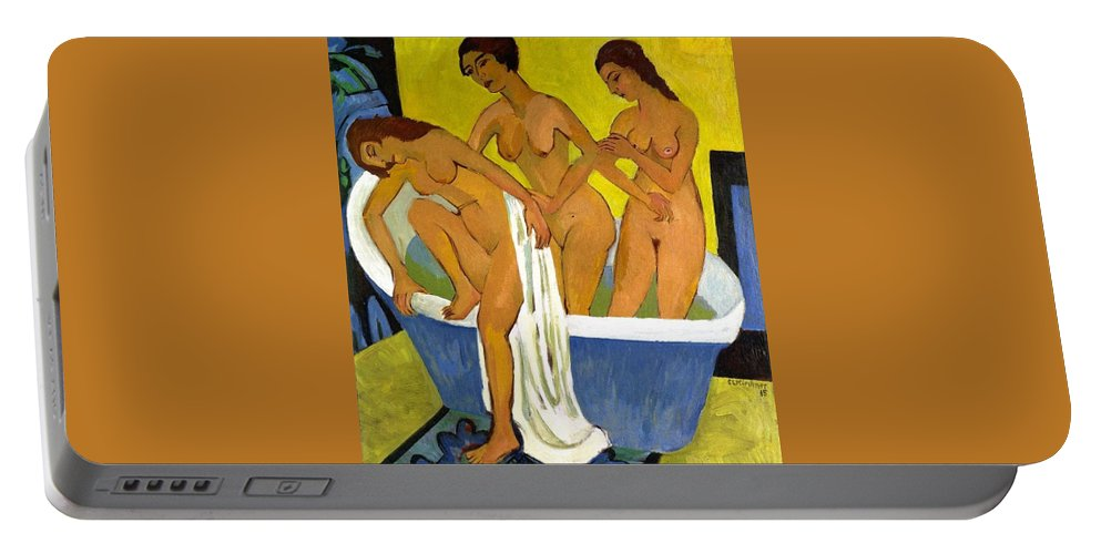 1915 Portable Battery Charger featuring the painting Women Bathing by Ernst Ludwig Kirchner