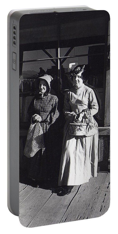 Women Extras In Old West Costumes Dirty Dingus Magee Set Portable Battery Charger featuring the photograph Women Extras In Old West Costumes Dirty Dingus Magee Set Mescal Arizona 1970 by David Lee Guss