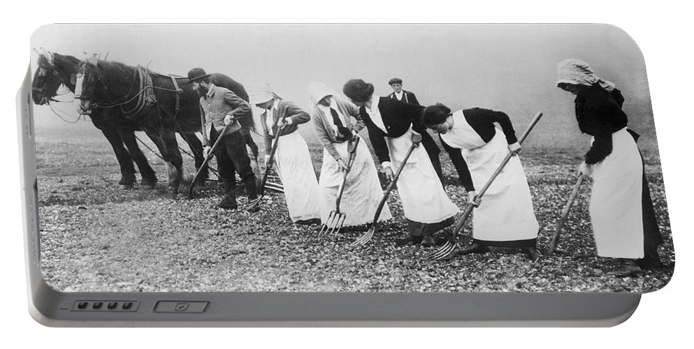 1035-842 Portable Battery Charger featuring the photograph Women Learning Farming by Underwood Archives