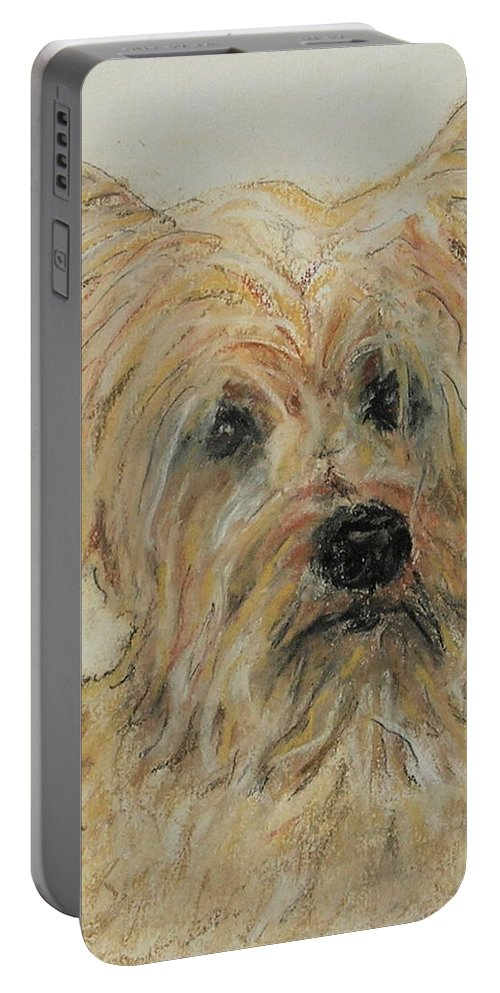 Terrier Portable Battery Charger featuring the drawing Wonder-ful by Cori Solomon