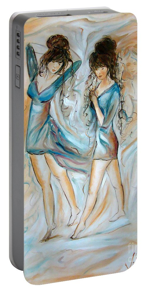 Contemporary Art Portable Battery Charger featuring the painting Wondering by Silvana Abel