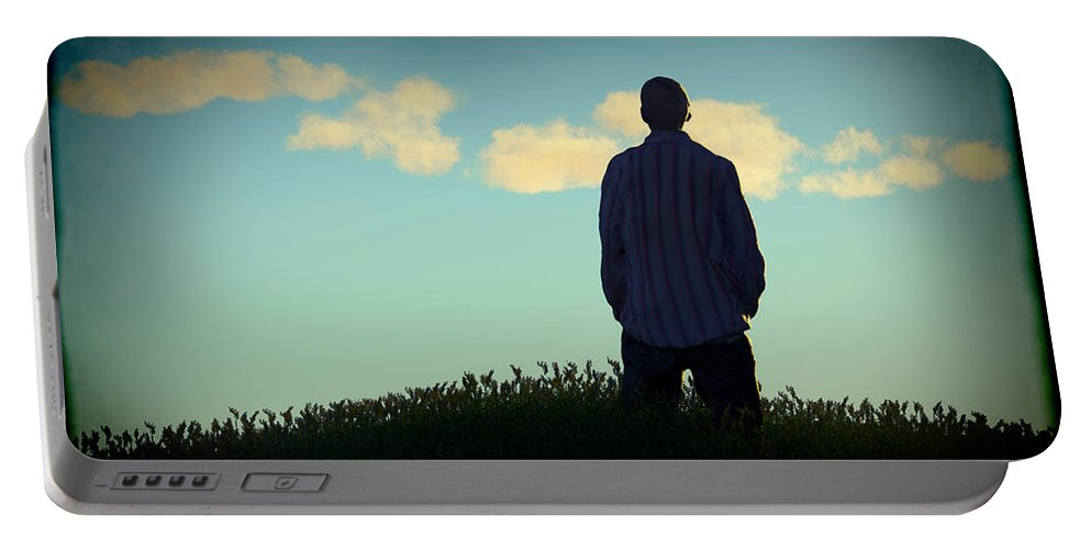 Portrait Portable Battery Charger featuring the digital art Wondering... by Tim Fillingim