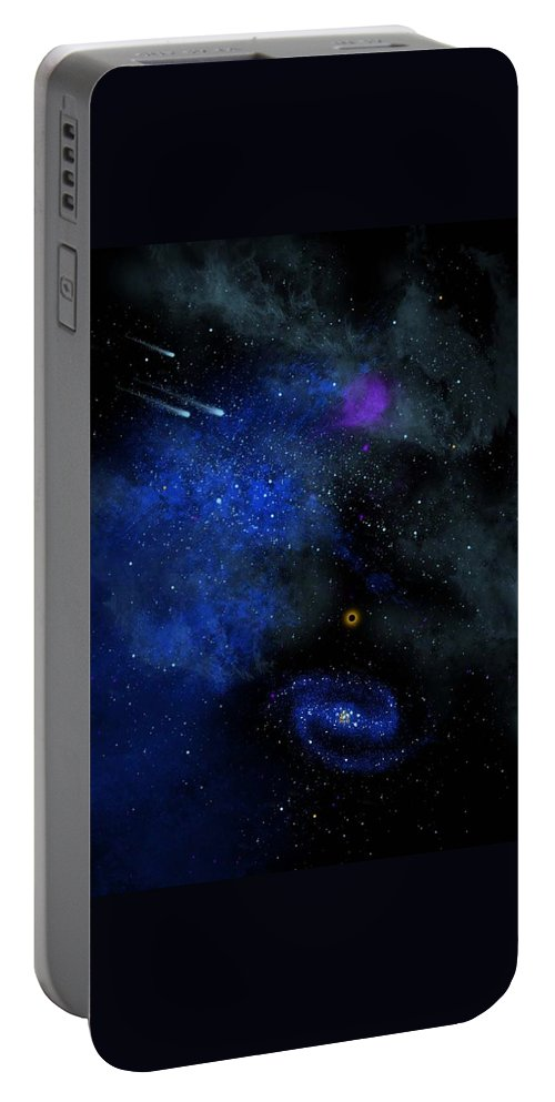 Wonders Of The Universe Mural Portable Battery Charger featuring the painting Wonders Of The Universe Mural by Frank Wilson