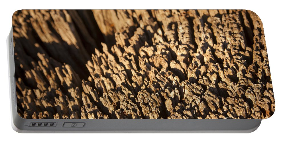 Abstract Portable Battery Charger featuring the photograph Wood Detail by Tim Hester