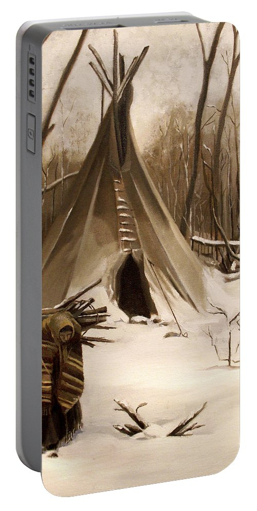Native American Portable Battery Charger featuring the painting Wood Gatherer by Nancy Griswold