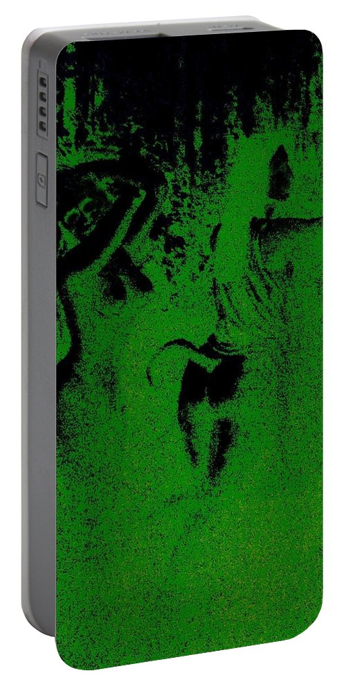 Genio Portable Battery Charger featuring the mixed media Wood Nymphs In Green Night Sight by Genio GgXpress