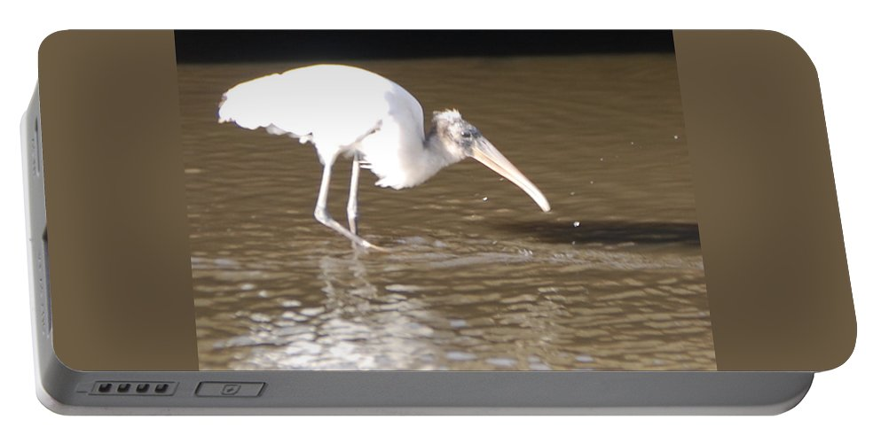 Fishing Alone Portable Battery Charger featuring the photograph Wood Stork by Robert Floyd