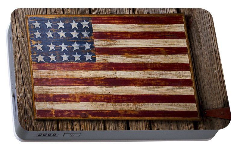 Wooden Portable Battery Charger featuring the photograph Wooden American Flag On Wood Wall by Garry Gay