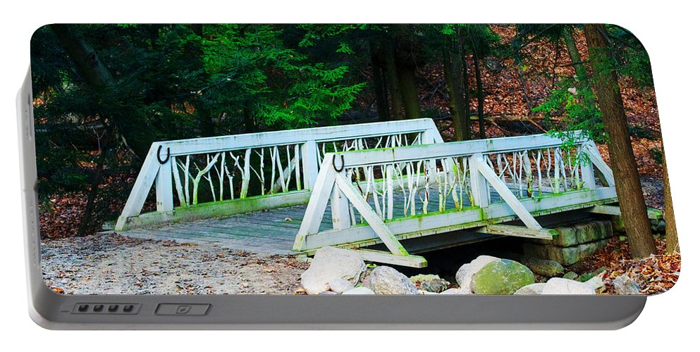 Bridge Portable Battery Charger featuring the photograph Wooden Bridge by Ashlee Kuenzli