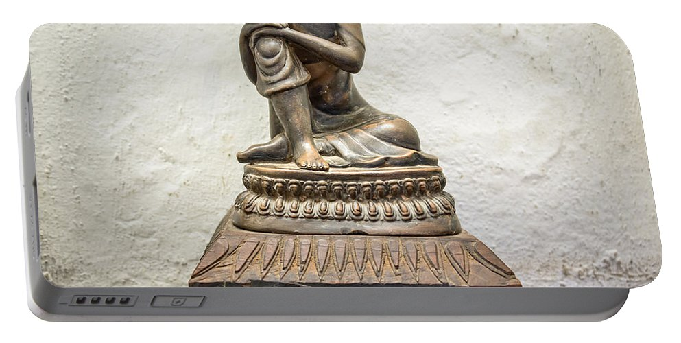 Statue Portable Battery Charger featuring the photograph Wooden Buddha Statue by Dutourdumonde Photography