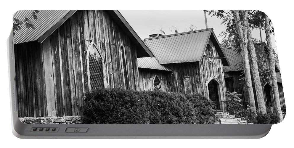 St. Joseph's-on-the-mount Episcopal Church Mentone Alabama Wooden Churches Cross Crosses Building Buildings Structure Structures Place Places Of Worship Early American Architecture Door Doors Window Windows Black And White Portable Battery Charger featuring the photograph Wooden Country Church 2 by Bob Phillips