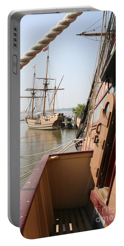 Ship Portable Battery Charger featuring the photograph Wooden Sailingships by Christiane Schulze Art And Photography