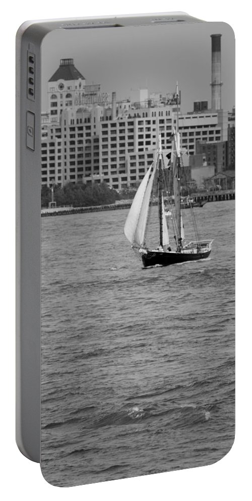 New York Portable Battery Charger featuring the photograph Wooden Ship On The Water by Rob Hans