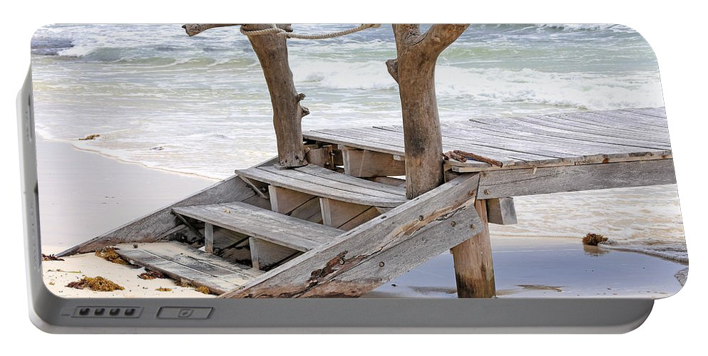Beach Portable Battery Charger featuring the photograph Wooden Steps by Paul Fell