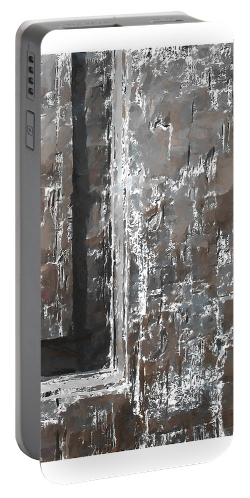 Wood Wooden Door Doors Time Expressionism Painting Scratch Sratches Vintage Old Portable Battery Charger featuring the painting Wooden Times 2 by Steve K