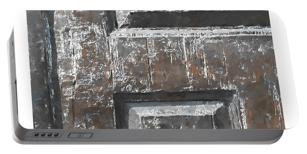 Wood Wooden Door Doors Time Expressionism Painting Scratch Sratches Vintage Old Portable Battery Charger featuring the painting Wooden Times 4 by Steve K