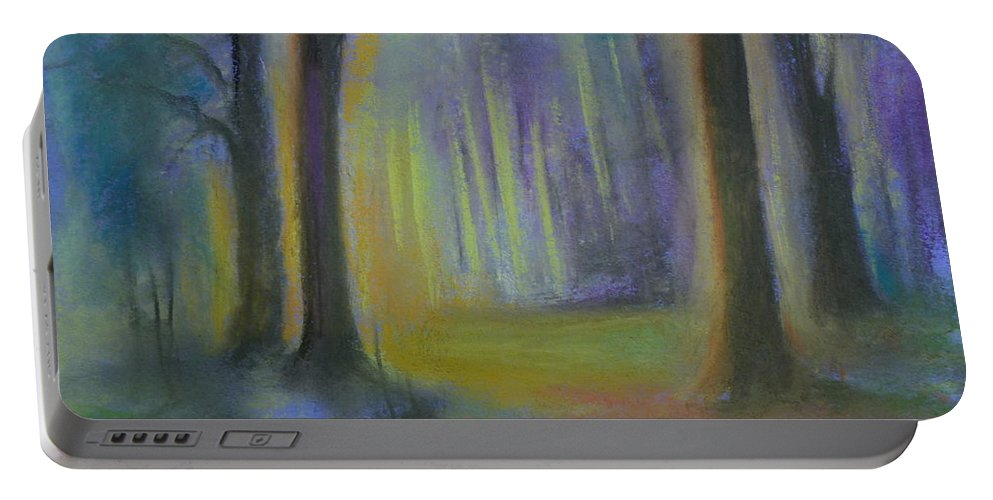 Landscape Portable Battery Charger featuring the painting Woodland At Wilsonia by Pusita Gibbs