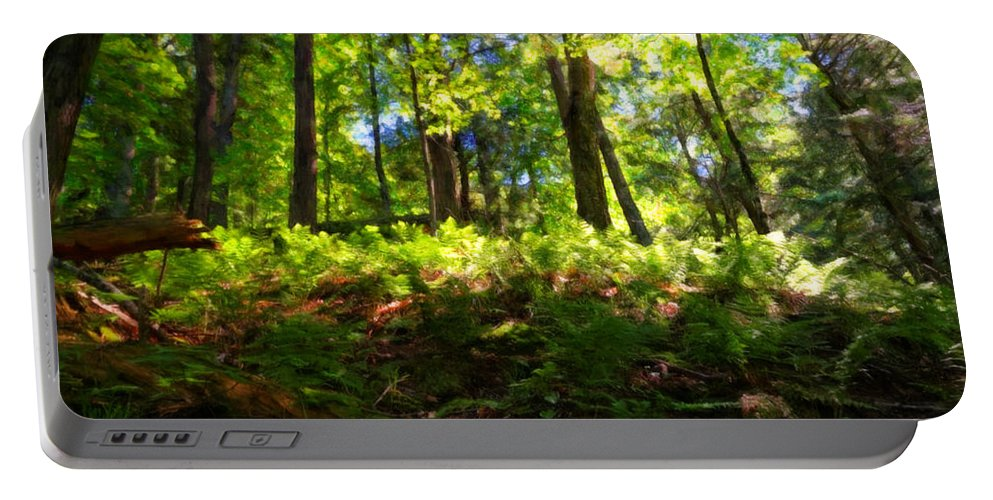 Wisconsin Portable Battery Charger featuring the painting Woodland by Lars Lentz
