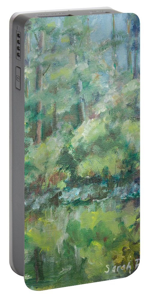 Woods Portable Battery Charger featuring the painting Woodland Pond by Sarah Parks
