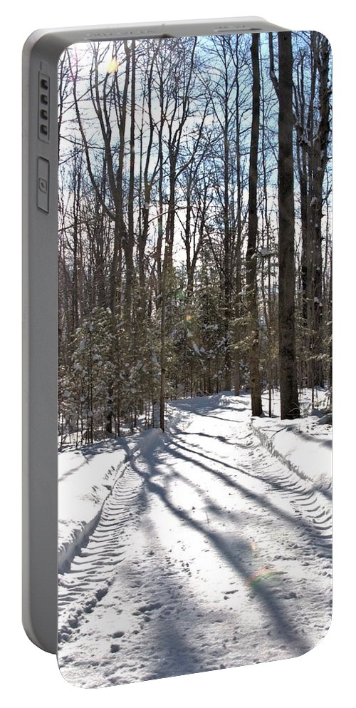 Winter Portable Battery Charger featuring the photograph Woodlot Road by Valerie Kirkwood