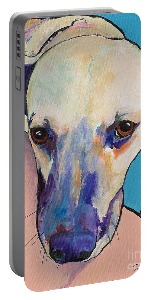 Pat Saunders-white Portable Battery Charger featuring the painting Woody by Pat Saunders-White