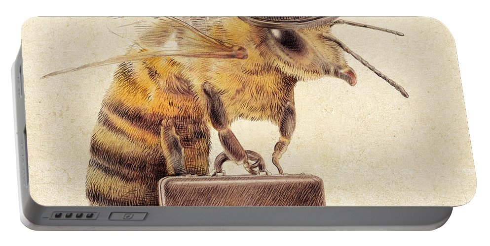 Bee Portable Battery Charger featuring the drawing Worker Bee by Eric Fan