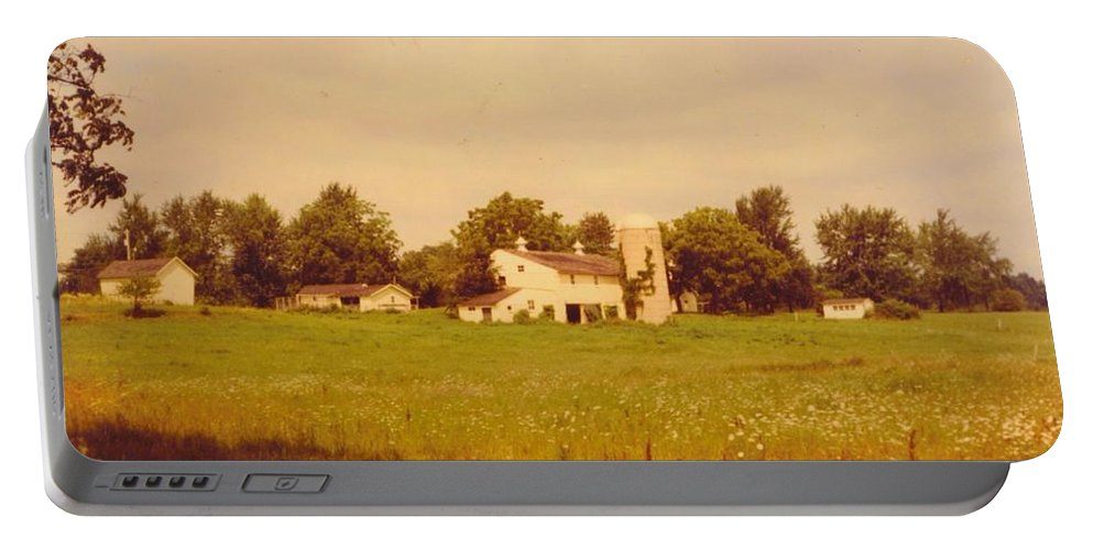 Michigan Working Farm Portable Battery Charger featuring the photograph Working Barns And Landscape by Robert Floyd