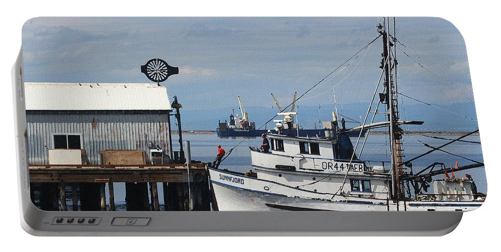 Working Boats Portable Battery Charger featuring the digital art Working Boats by Tom Janca