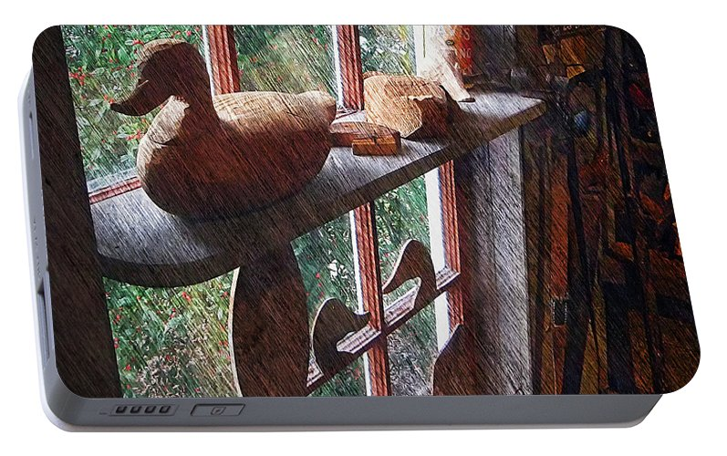 2d Portable Battery Charger featuring the photograph Workshop Window by Brian Wallace