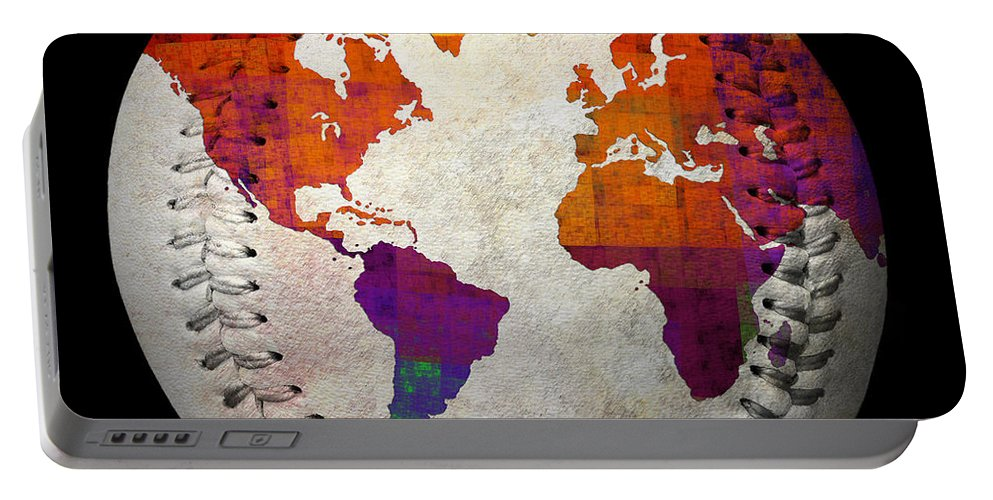 Baseball Portable Battery Charger featuring the digital art World Map - Rainbow Bliss Baseball Square by Andee Design