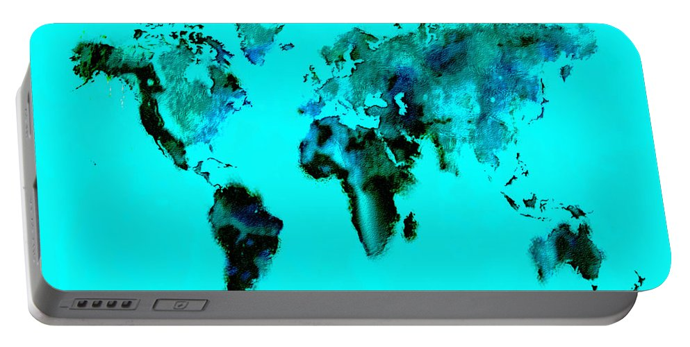 Splats Portable Battery Charger featuring the digital art World Map 15 by Brian Reaves