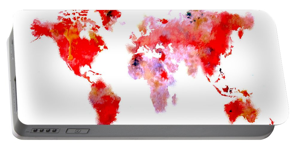 Splats Portable Battery Charger featuring the digital art World Map 9 by Brian Reaves