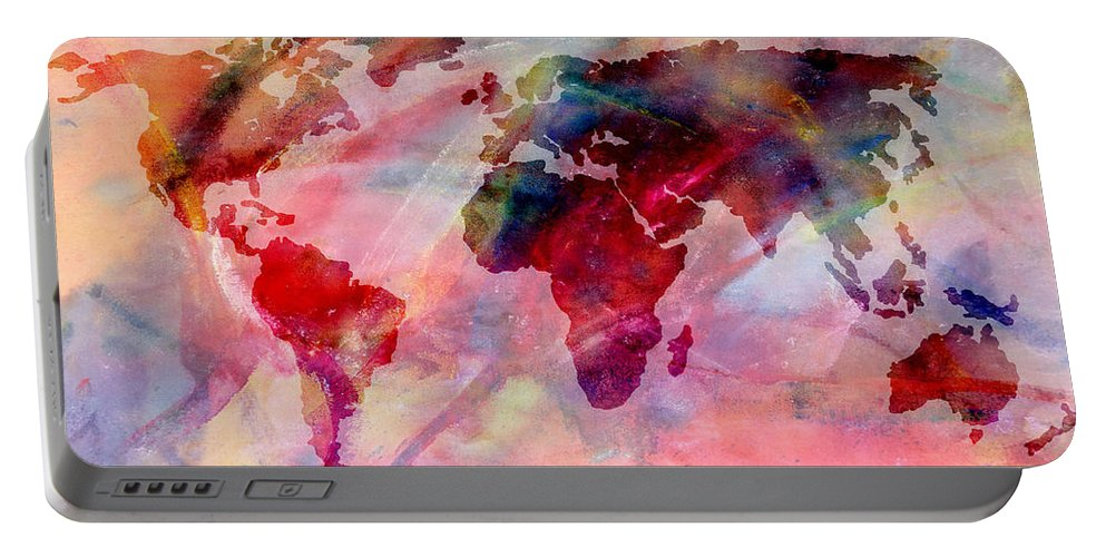 Maps Portable Battery Charger featuring the photograph World Map Splash Of Color by Athena Mckinzie