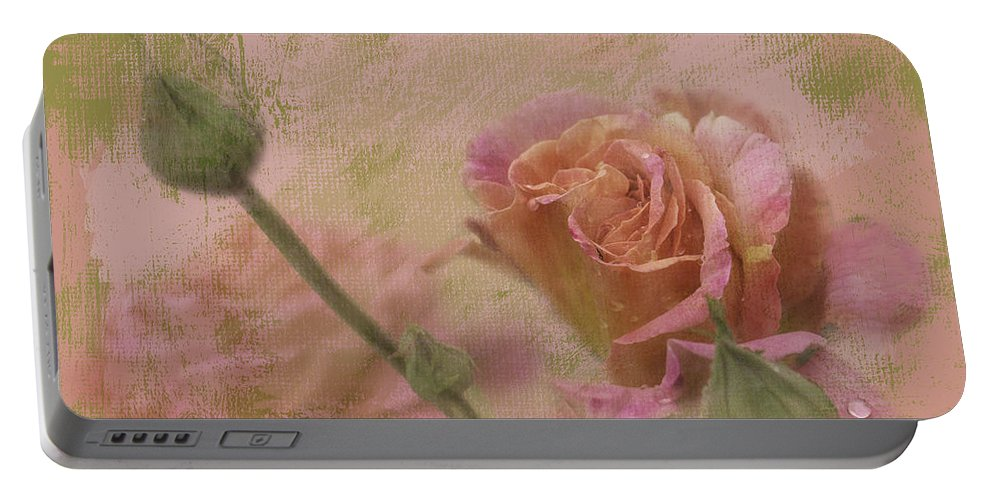 Roses Portable Battery Charger featuring the photograph World Peace Roses With Texture by Diane Schuster